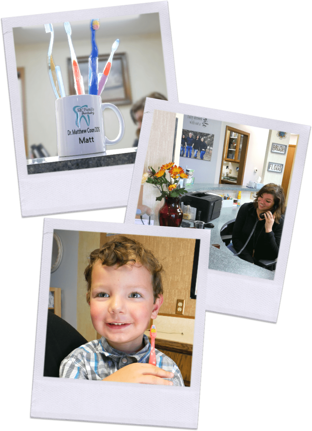 Tessa Davies, Office Manager, Mug with MC Family Dentistry logo, Young boy holding toothbrush