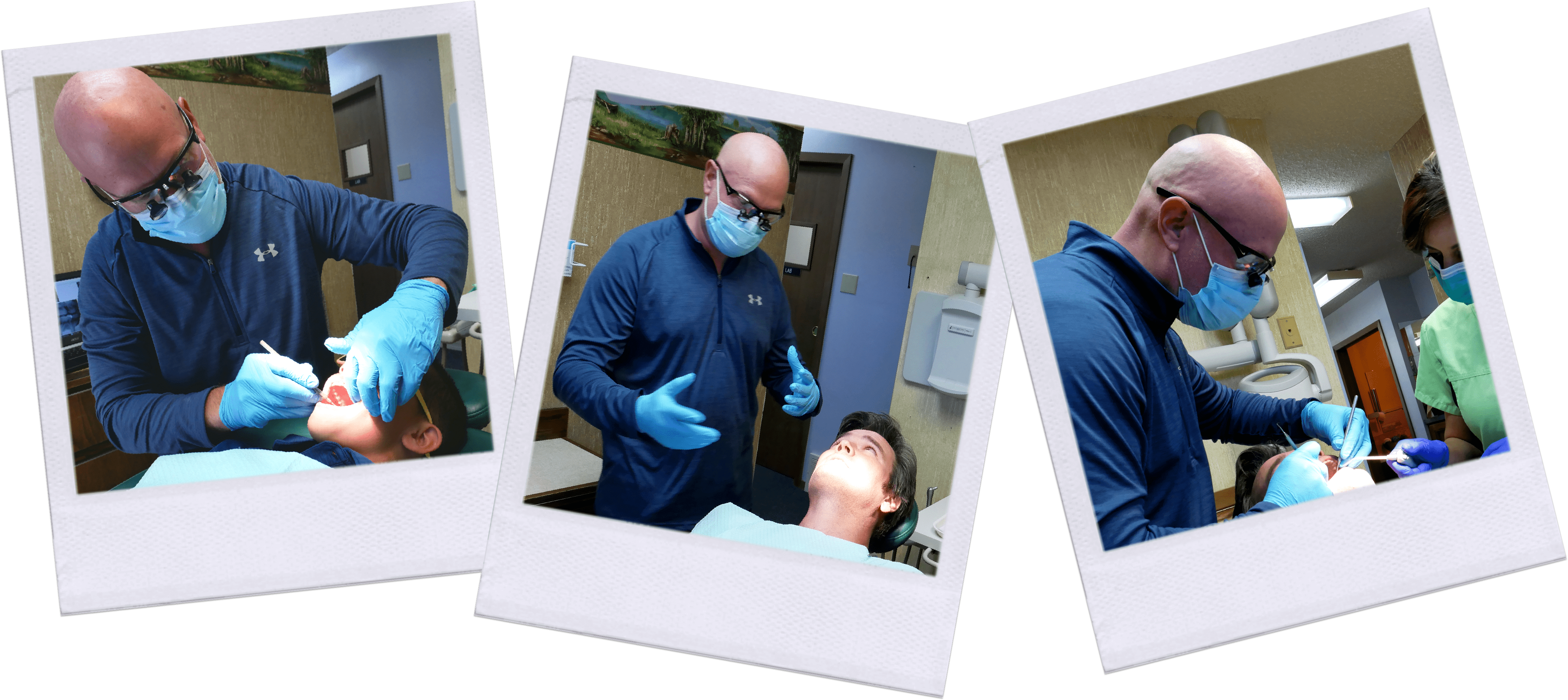 Dr. Coon working with patient and Andrea Blanco dental assistant