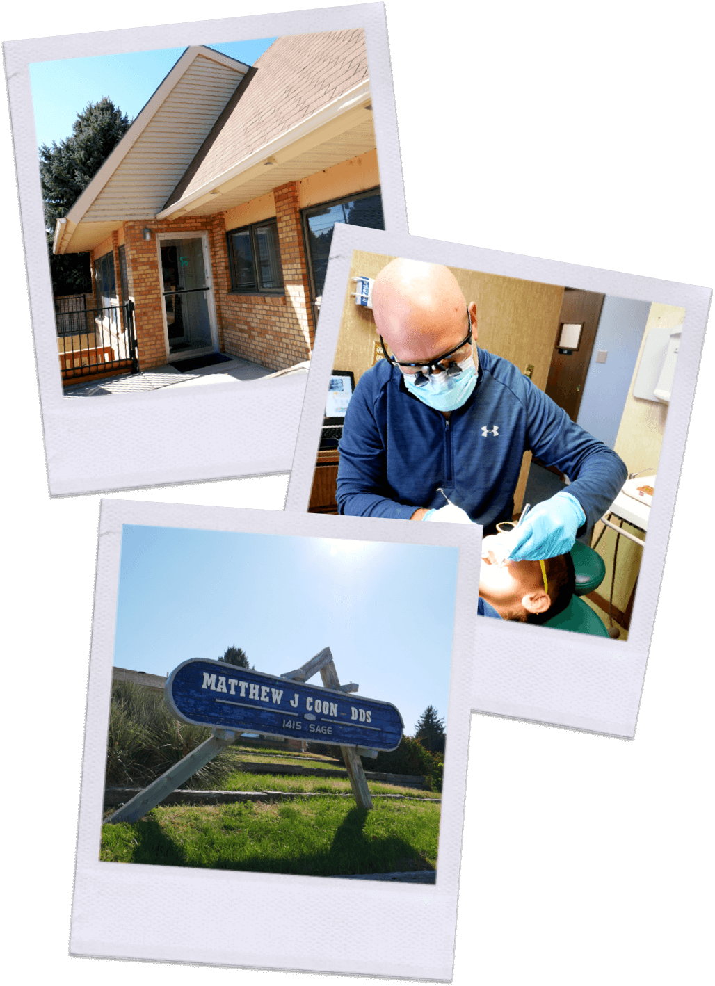 Dr. Coon inspecting teeth on your boy. Entrance of office and Front of building sign that says Matthew J Coon DDS