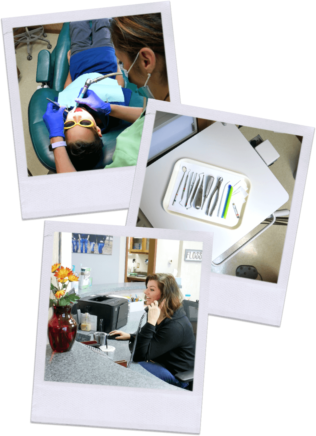 Dental tools, Front end manager, Tessa Davies and young boy getting teeth cleaned by Andrea Blanco, Dental assistant.