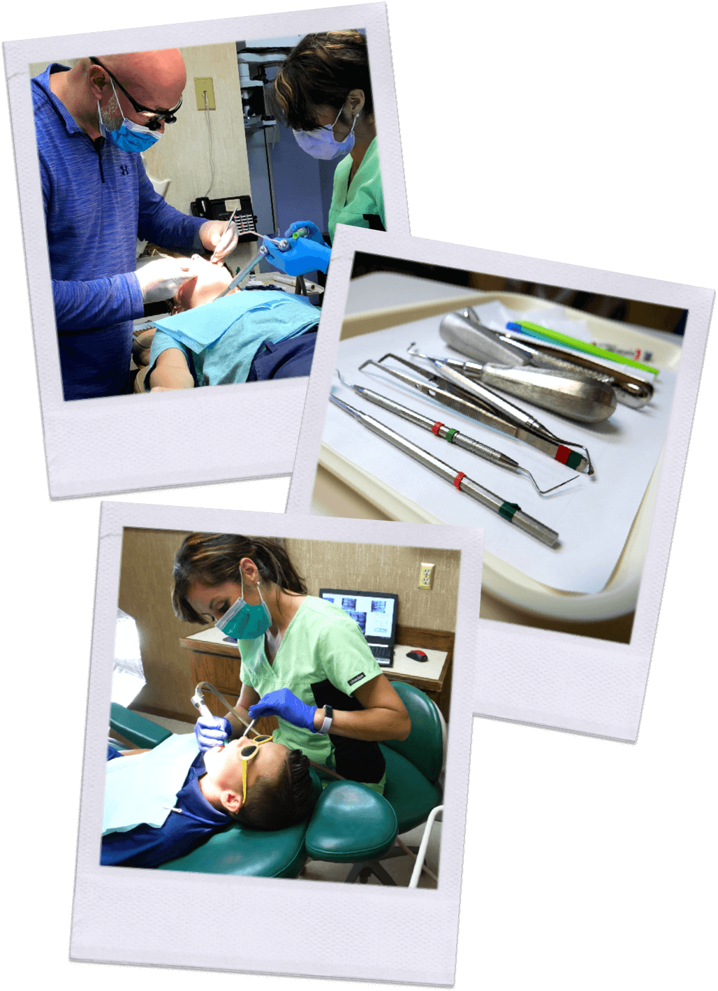 Dental tools, Front end manager, Tessa Davies and young boy getting teeth cleaned by Andrea Blanco, Dental assistant. and Dr. Coon